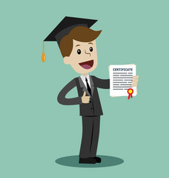 a man in a suit hold a degree certificate of vector image