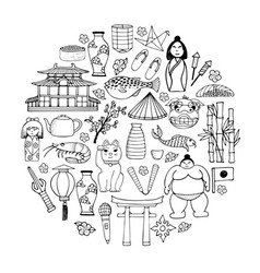 a set of hand-drawn about japan vector image