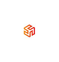 Abstract circle shape cube logo vector