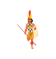 armed tribal male warrior in traditional clothing vector image
