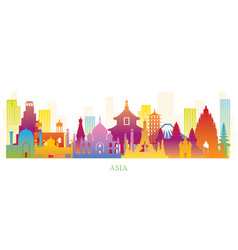 Asia skyline landmarks colorful silhouette vector