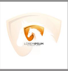 Awesome shield horse logo vector