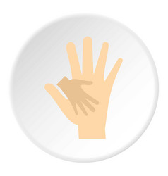Baby hand in mother hand icon circle vector