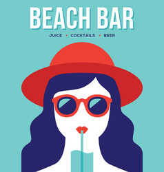 Beach bar banner with girl drinking cocktail vector