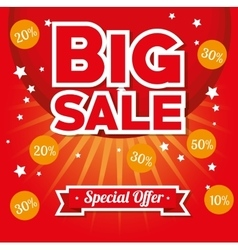 big sale special offer stars bright red background vector image