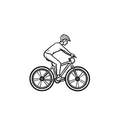Biker riding mountain bike hand drawn outline vector
