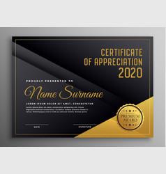 Black and golden certificate template design vector