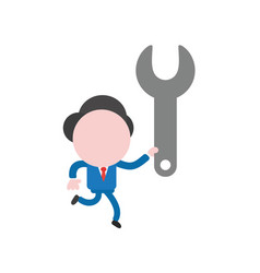 Businessman character running and holding spanner vector