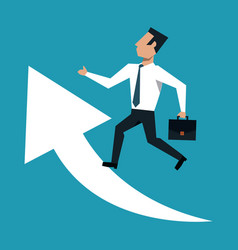 Businessman with briefcase over arrows growing vector