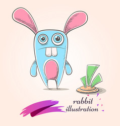 Cartoon funny cute crazy rabbit carrot vector