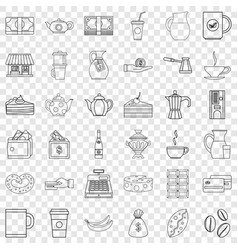 Cezve icons set outline style vector