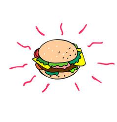 cheeseburger cartoon drawing vector image