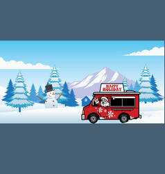 Christmas food truck with cheerful santa claus vector