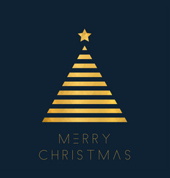christmas greeting card with golden polygon tree vector image
