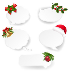 christmas speech bubble set with white paper vector image