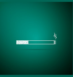 cigarette icon on green background smoking symbol vector image