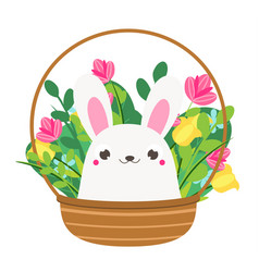 Cute bunny in flowers rabbit sitting in basket vector