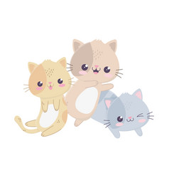 Cute little cats hello kawaii cartoon character vector