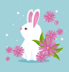 cute rabbit wild animal with flowers and leaves vector image
