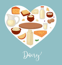 dairy products food and drink cheese and milk vector image