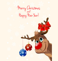 deer with christmas decorations greeting card vector image