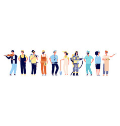 different professionals policeman and fireman vector image