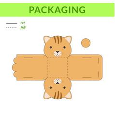 Diy party favor cat box for birthdays baby vector