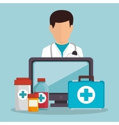 doctor male fisrt aid medicine computer vector image