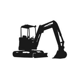 Excavator silhouette design logo vector