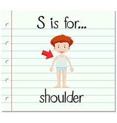 Flashcard letter s is for shoulder vector
