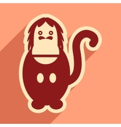 Flat icon with long shadow happy monkey vector
