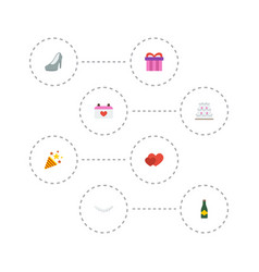 Flat icons love calendar patisserie and other vector