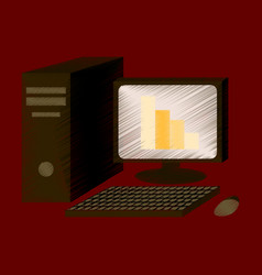 flat shading style icon office computer vector image