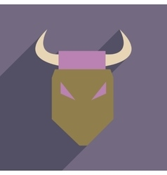 Flat web icon with long shadow bull vector