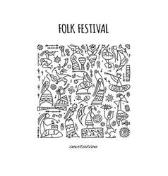 Folk ethnic dance background for your design vector