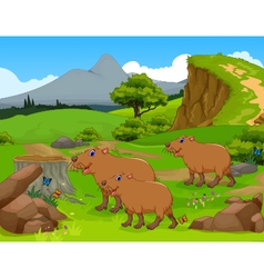 Funny capybara cartoon in the jungle vector