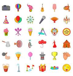 Funny icons set cartoon style vector