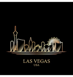 Gold silhouette of Las Vegas on black background vector image