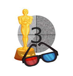 Golden oscar statuette and 3d glasses in a gray vector