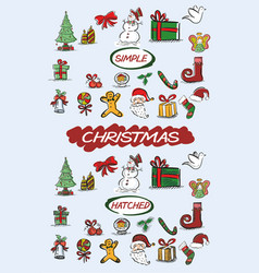 hand drawn christmasm doodles vector image