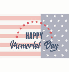 happy memorial day greeting card with usa flag vector image