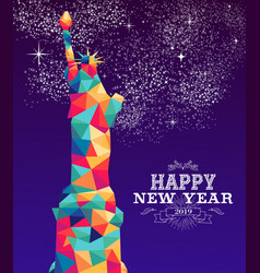 happy new year 2019 america color triangle hipster vector image