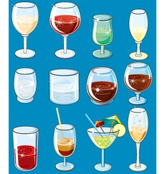 Icons with alcohol beverages and drinks vector