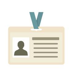 Id badge icon flat style vector