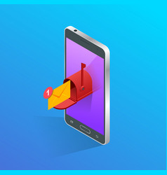 isometric letter and mailbox flying out of phone vector image