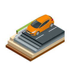 Isometric piece asphalt road with car isolated vector