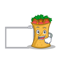 kebab wrap character cartoon with board vector image