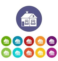 Large single-storey house set icons vector image
