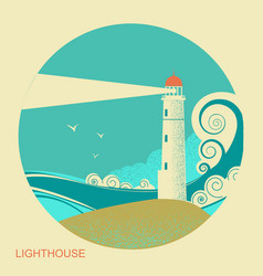 lighthouse label vintage seascape vector image