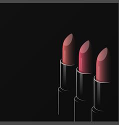 lipsticks fashion logo on black design background vector image